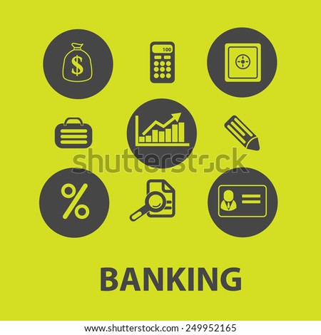 banking, money, payment, credit icons, signs, illustrations on background set, vector - stock vector