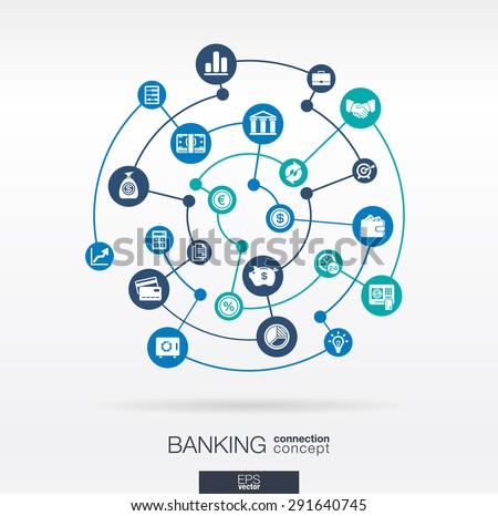 Banking network. Circles abstract background with lines and integrate flat icons. Connected symbols for money, card, bank, business and  finance concepts. Vector interactive illustration - stock vector