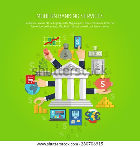 Banking service concept with human hands and flat finance icons vector illustration - stock vector