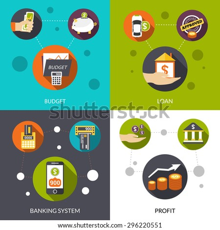 Banking system loan and financial profit flat design decorative icons isolated vector illustration - stock vector