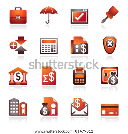 Banking web icons. Black and red series. - stock vector