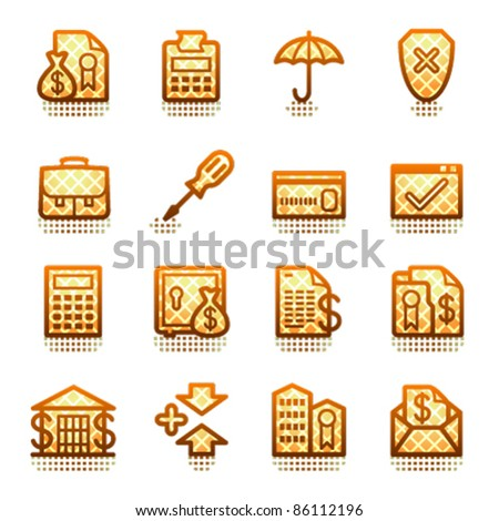 Banking web icons.  Brown series. - stock vector