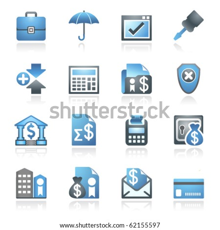 Banking web icons. Gray and blue series. - stock vector
