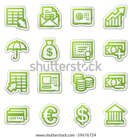 Banking web icons, green sticker series - stock vector