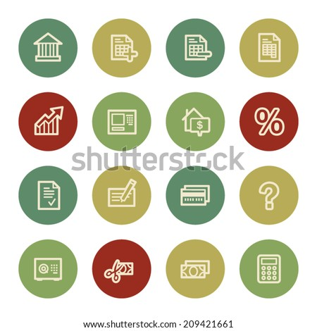 Banking web icons, vintage color - stock vector