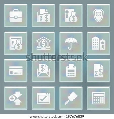 Banking white icons on blue buttons. - stock vector