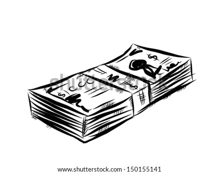 banknote / cartoon vector and illustration, hand drawn, sketch style, isolated on white background. - stock vector