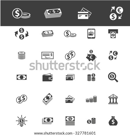 banknote, cash, money icons - stock vector