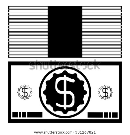 Banknote dollar bundle silhouette, Simple icon pack dollars - stock vector