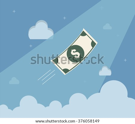 Banknote financial freedom. Flat design for business financial marketing banking advertising event concept cartoon illustration. - stock vector