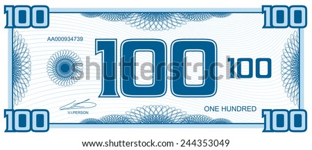 banknote hundred - stock vector