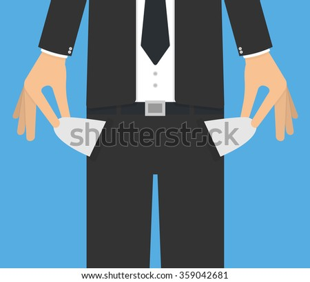 Bankruptcy concept. Businessman pulling out or showing empty pockets with his hands. Flat design - stock vector