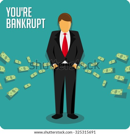 Bankruptcy. Person bankrupt. Ruin vector illustration. Businessman has no money. - stock vector