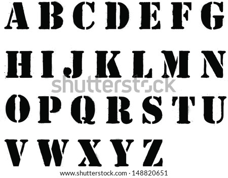 Banksy style grafitti stencil lettering whole alphabet - stock vector