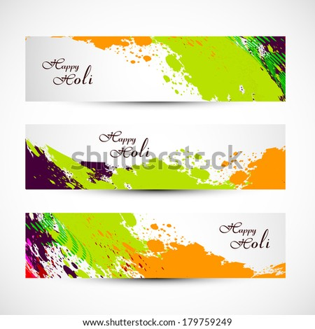 Banner and header set grunge holi with colorful colours splash. illustration vector - stock vector