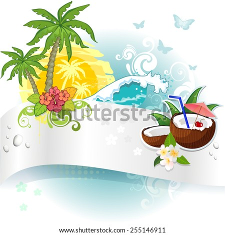 Banner and tropical coconut- Transparency blending effects and gradient mesh-EPS 10 - stock vector