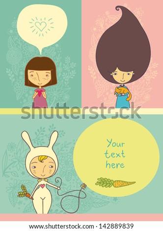 banner cartoon girl collection - stock vector