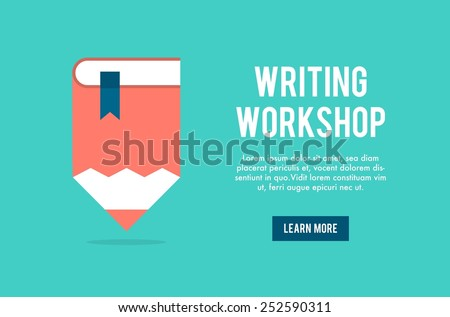 banner concept for writing workshop, vector illustration - stock vector