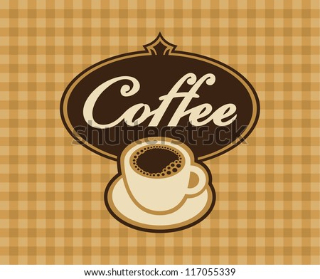 banner cup of coffee on a checkered background - stock vector