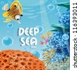 Banner deep blue sea with coral reefs and sea anemones - stock vector