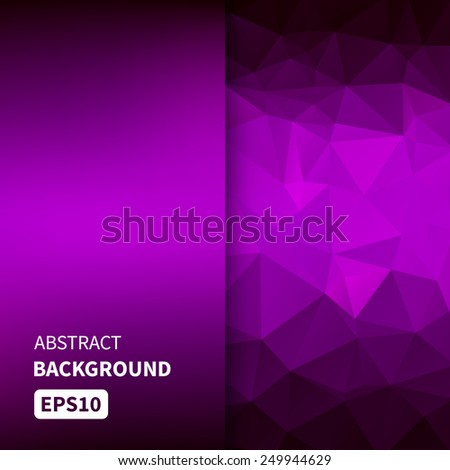 Banner design. Abstract template background with purple triangle shapes. Vector illustration EPS10 - stock vector