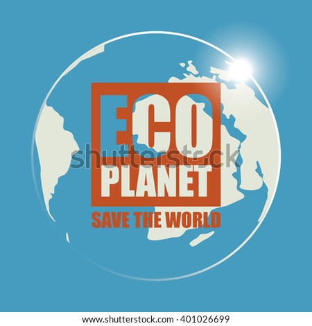 Banner Eco planet with sun rays and planet earth