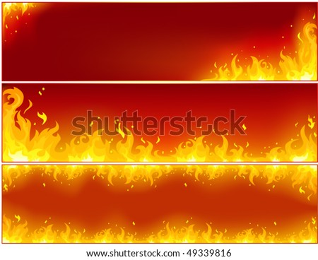 Banner flame on a red background - stock vector