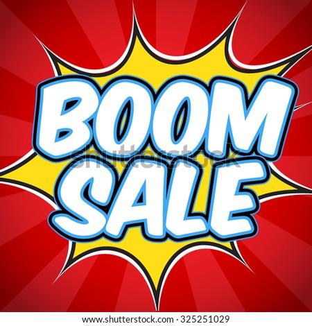 Banner flyer pop art comic Boom sale discount promotion.  - stock vector