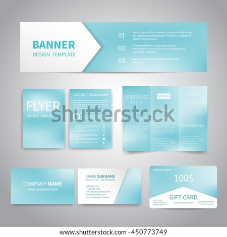 Banner Flyers Brochure Business Cards Gift Stock Vector