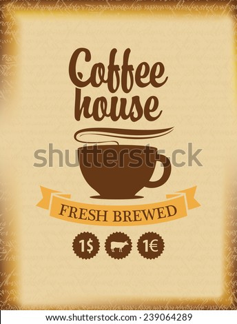 banner for a coffee house on a background of ancient papyrus - stock vector