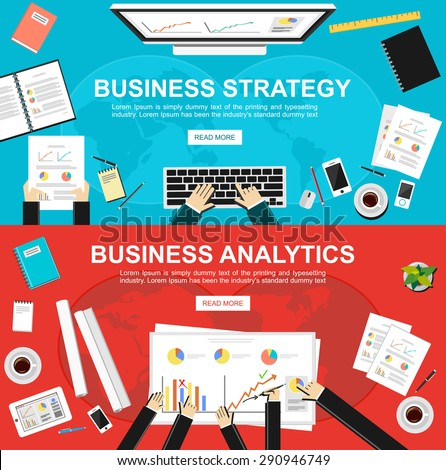 Banner for business strategy and business analytics. Flat design illustration concepts for business, finance, management, analysis,  business statistics, brainstorming, , teamwork, monitoring.   - stock vector