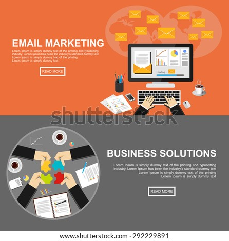 Banner for email marketing and business solutions. Flat design illustration concepts for email marketing, business, management, analysis, marketing, business solution, teamwork, decision making. - stock vector