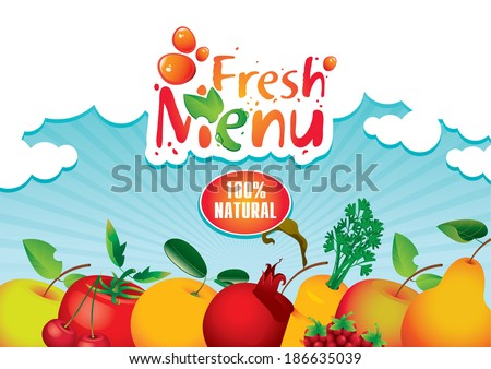 banner for juices and fresh fruit - stock vector