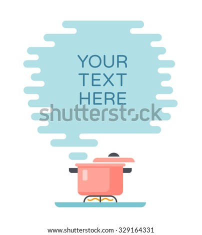 Banner for recipes, menus or other content. Cloud of steam and saucepan - stock vector