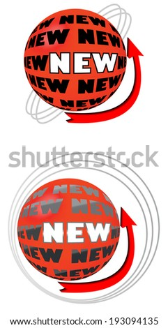 Banner for the new product in the shape of ball with arrow - stock vector