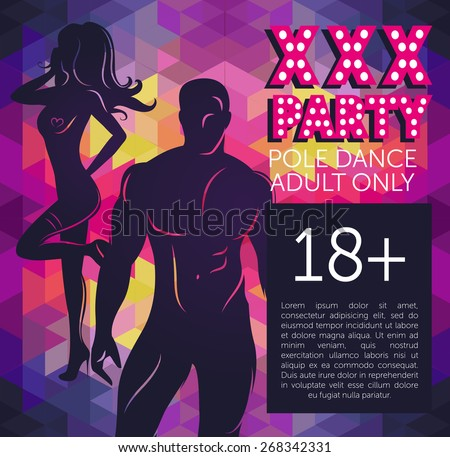 banner for xxx party with man's and woman's silhouette on colorful geometric background, vector illustration - stock vector
