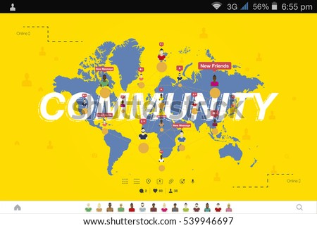 Banner global community teamwork world map stock vector hd royalty banner global community and teamwork world map on background flat vector illustration gumiabroncs