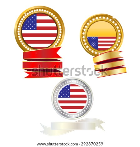 Banner gold and silver flag American
