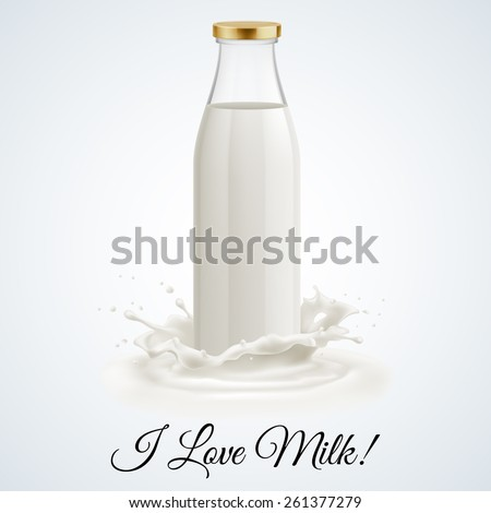 Banner I love milk. Closed glass bottle of milk - stock vector