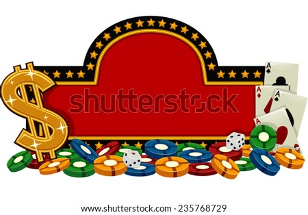 Banner Illustration Featuring a Casino Sign Surrounded by Gambling Implements - stock vector
