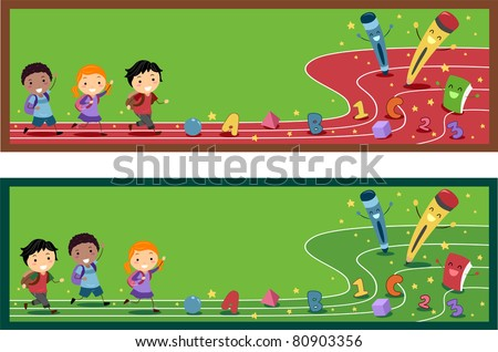 Banner Illustration with a Preschool Theme - stock vector