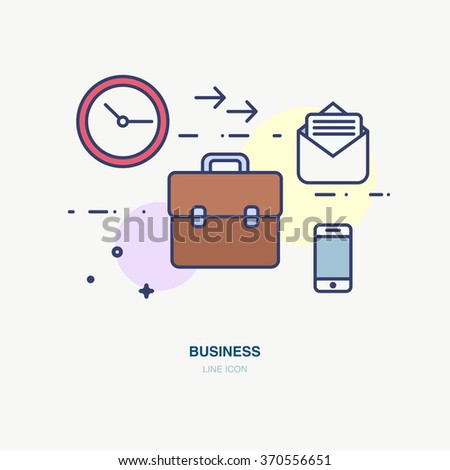 Banner in flat line design for work plan. Set of thin flat line icon in style. Sharing business documents, software, online business.
