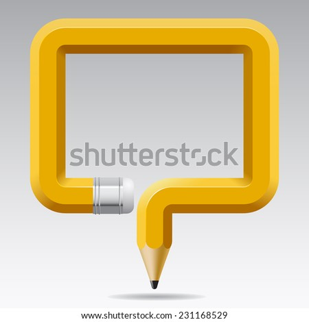 Banner in the shape of a curved pencil. Education Template. Concept vector illustration - stock vector