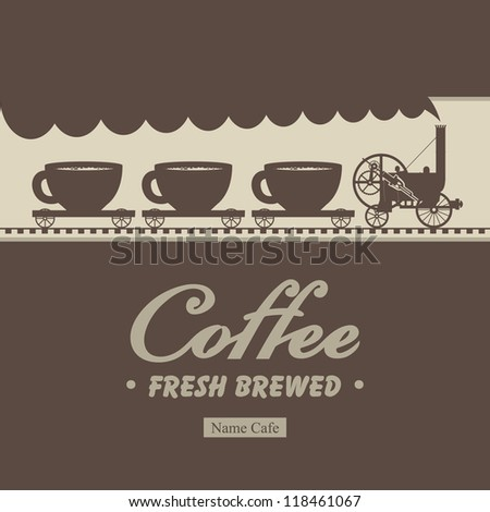 Banner menu for cafe with a locomotive and wagons with cups