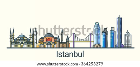 Banner of Istanbul city in flat line trendy style. All buildings separated and customizible. Line art. - stock vector