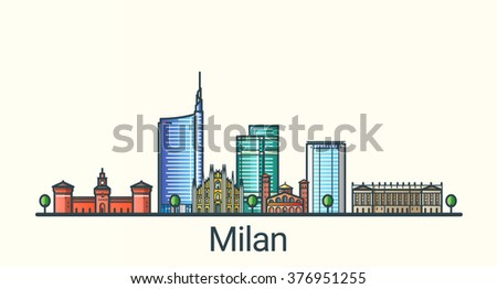 Banner of Milan city in flat line trendy style. All buildings separated and customizable. Line art. - stock vector