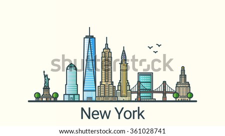 Banner of New York city in flat line trendy style. All buildings separated and customizable. Line art. - stock vector