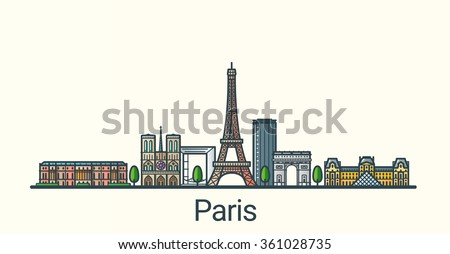 Banner of Paris city in flat line trendy style. All buildings separated and customizable. Line art. - stock vector