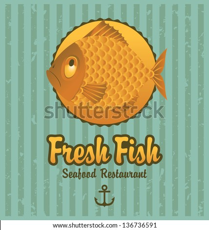 Banner on the background of the fish - stock vector