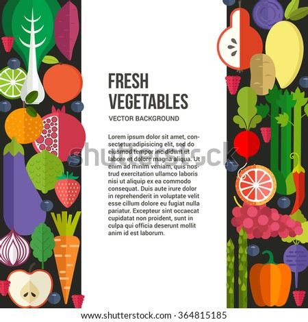 Banner or flyer template with organic fruits and vegetables. Illustration of healthy food made in flat style vector. Place for your text. - stock vector